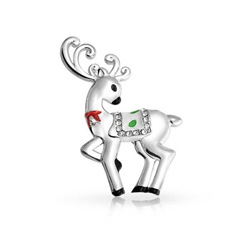 Bling Jewelry Santa Reindeer Weihnachten Urlaub Brosche Weihnachten Pin Für Teen Für Frauen Kristall Silber Vergoldet Legierung