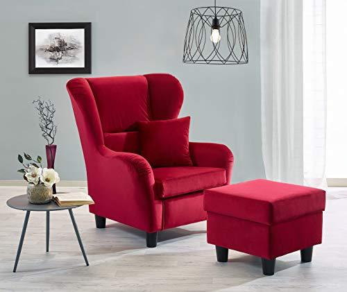 lifestyle4living Ohrensessel mit Hocker in rotem Samt bezogen | Der perfekte Sessel für entspannte, Lange Fernseh- und Leseabende. Abschalten und genießen!