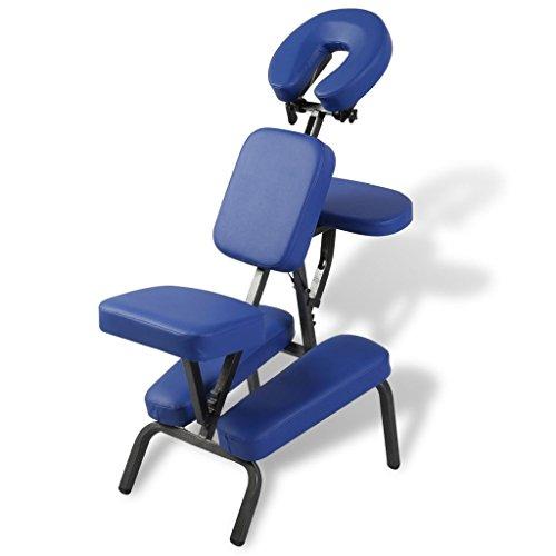 vidaXL Chaise de Massage de Traitement Pliante Réglable et Portable Bleu Sac Inclus