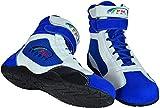 PM Sports Adulte Neuf Karting//Race/Rally/Track Bottes avec Cuir synthétique/en Daim et Mash Panneau, Blanc/Bleu, 6.5 UK/EU 40