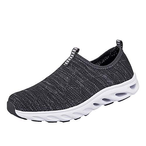 Fenverk Herren Damen Laufschuhe Atmungsaktiv Turnschuhe SchnüRer Sportschuhe Sneaker Fitness Leicht rutschfeste(Gray,41 EU)