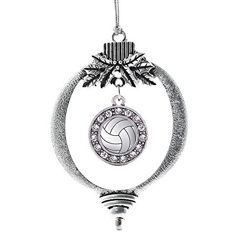 Inspired Silver - Volleyball Charm Ornament - Silver Circle Charm Holiday Ornaments with Cubic Zirconia Jewelry