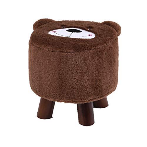 hsj LF- Taburete pequeño de madera maciza de dibujos animados creativos para niños, mesa de café, taburete para el hogar, silla pequeña, cómoda (color marrón
