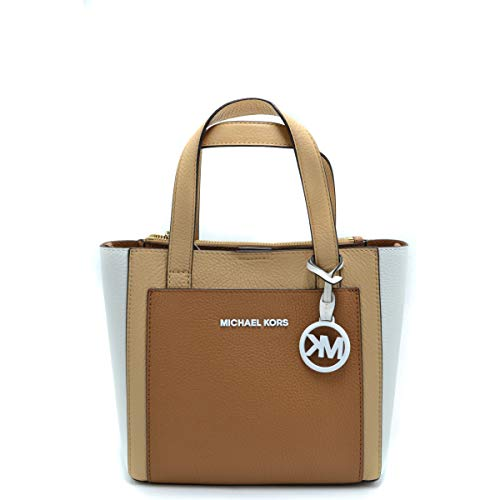 """Size Info 9""""W x 8""""H x 4 ¼""""D. (Interior capacity: small.) 5"""" strap drop; 20"""" - 23"""" convertible strap drop. 1.4 lb. Details & Care Tritone color blocking accentuates the clean lines of a structured pebbled-leather crossbody bag branded with enameled lo..."""