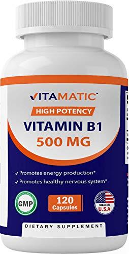 Vitamatic Vitamin B1 (Thiamine) 500mg, 120 Capsules