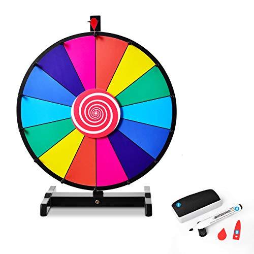 DREAMADE Glücksrad, Spielzeuge für Lotteriespiele Wheel of Fortune, Tischglücksrad mit Kompletten Zubehör, Bunt