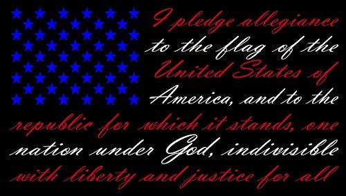 "American Flag Pledge of Allegiance Red, White, and Blue Vinyl Truck Window Sticker Decal (13"" x 22"")"