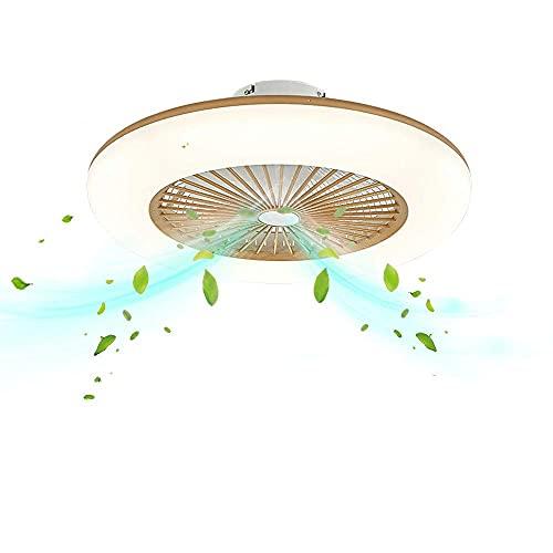 TTWUJIN Lámpara Ventilador de Techo Led Luz Regulable con Control Remoto Ajustable Modernable Luces de Techo Invisibles Alivio para Sala, Oficina, Dormitorio, Ventilador de Techo de Restaurante con I