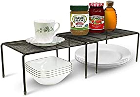 Callas Stackable Kitchen Cabinet and Counter Shelf Organizer | Multipurpose Pantry Bedroom Bathroom Storage Racks (Pack...