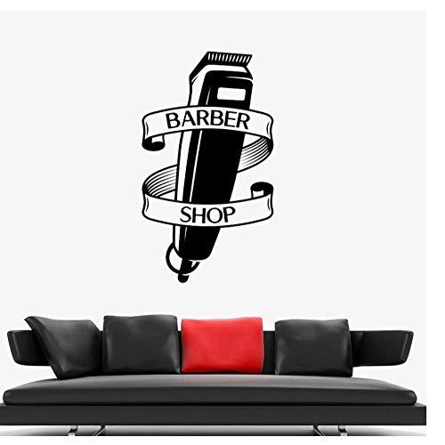 Zkpyy Barbershop Razor Vinyl venster muursticker kunst aftrekplaatje barber tondeuse schaar muursticker decoratie thuis 33 x 57 cm