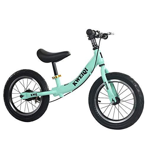 Bueuwe Bicicleta Equilibrio para Niños de 2 a 6 Años, Bici para Aprender a Mantener el Equilibrio con Manillar y Sillín Ajustables, Estable y Seguro con Freno, Llantas de 14 Pulgadas,Verde