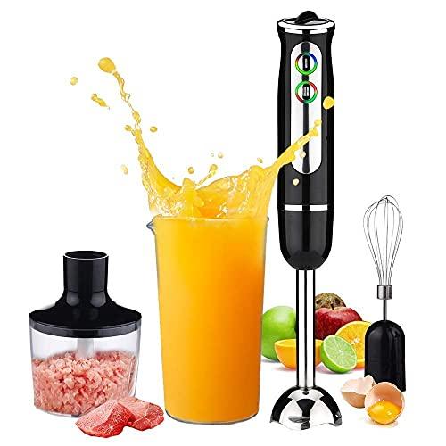 CDPC 600 W Stabmixer, 4-in-1 Stabmixer, 8 Geschwindigkeiten, mit 860 ml Küchenmaschine Chopper, 600 ml Becherglas, Schneebesen