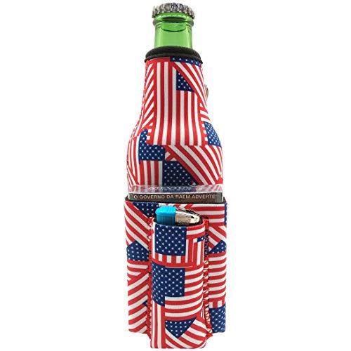 Chuggie Beer Bottle with Two Pockets - Holds Cigarette and Lighter, Phone, Keys, 3mm Neoprene (American Flag Pattern)