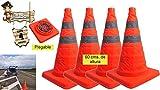 BricoLoco Lote 4 uds Cono señalización carretera plegable 60 cm 2 bandas...
