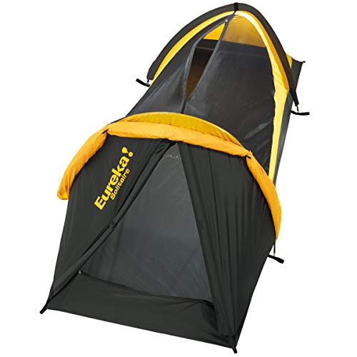Eureka Solitaire bivy tent with the fly on.