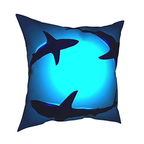 XChicShop 18x18 Throw Pillow Covers Set of 4 Underwater Shark Beach Sea Ocean Decorative Couch Pillow Cases Cushion Cover Sofa Soft Standard Zip Square Personalized Pillowcase for Kids Women Men
