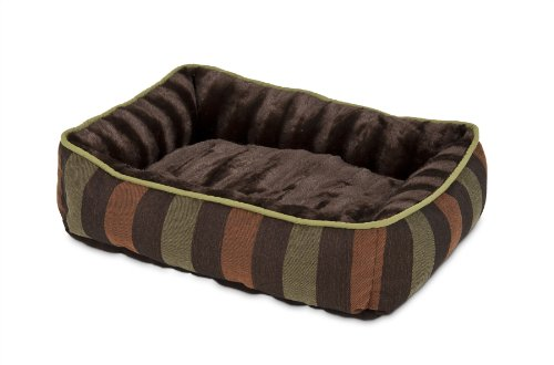 Petmate 80140 Fashion Rectangular Lounger for Pets, 24 by 20-Inch, Dark Brown with Wide Stripe