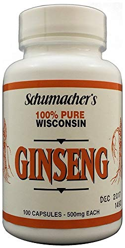 American Ginseng Capsules, 100% Pure Wisconsin Ginseng, 500mg, 100 Capsules - Best Ginseng Supplement, Pure Potent Wisconsin Ginseng Roots by Schumacher Ginseng