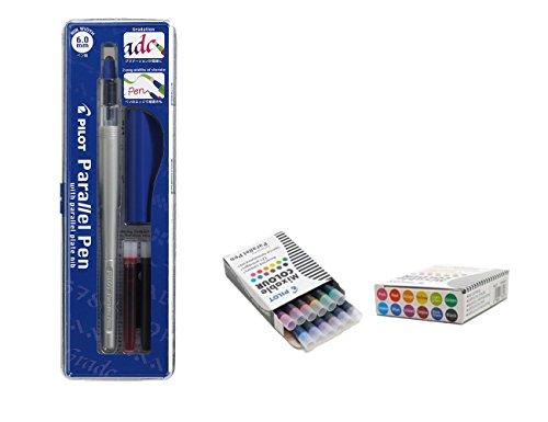 Pilot Parallel Pen Kalligrafie-Füllfederhalter, 6,0 mm, nachfüllbar, mit 12 verschiedenen Ersatzminen, Pilot Parallel Pen