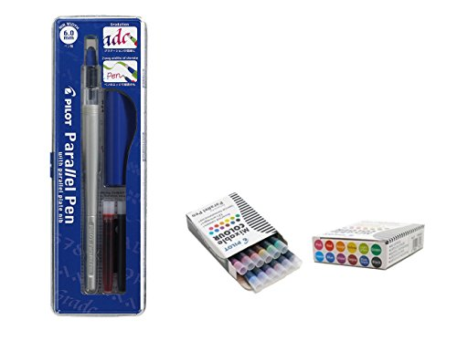 Pilot Parallel Pen Stylo de calligraphie rechargeable + 12 cartouches de rechange assorties 6 mm