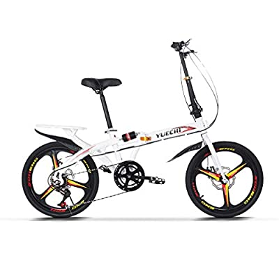 ACESPEE Rear Suspension Adult Folding Bike-High Tensile Steel Frame, Genuine Shimano 7-Speed Gears, Compact 20-Inch Folding Bike with Fenders, Rack and Comfort Saddle, White