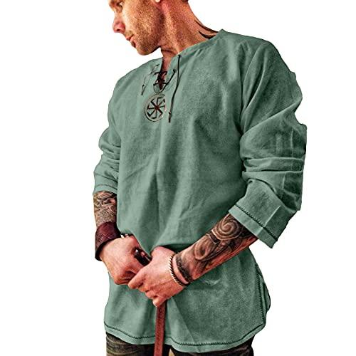 Herrenmode Leinenhemd Yoga Shirt Mittelalter 3/4 arm V Ausschnitt mit Schnürung, Leinen T Shirts Männer Vintage Fischerhemden Sommer Freizeithemd Leichte Bequem Atmungsaktives Strand Loose Top Bluse