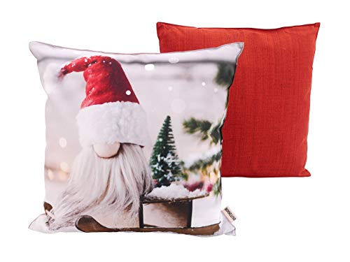 CB Home & Style Outdoor Garten Kissen Wasserabweisend 45 x 45 cm Weihnachten Winter (Wichtelrot)