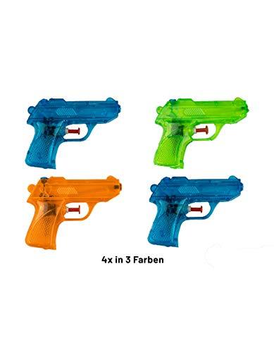 BG Wasserpistole Spielzeug für Kinder | 4 Mini Wasserpistolen mit großer Reichweite für Strand Urlaub Pool Partys und Aktivitäten im Freien | Nerf Super Soaker Water Gun Spritzpistolen (12cm)