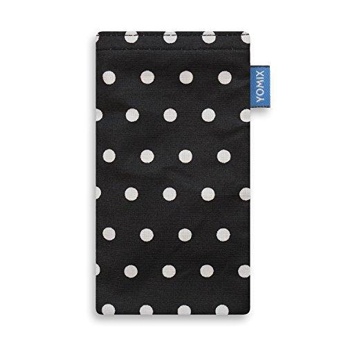 YOMIX Gunilla Schwarz Handytasche Tasche für Nokia 2.1 aus beschichteter Baumwolle mit Microfaserinnenfutter | Hülle mit Reinigungsfunktion | Made in Germany