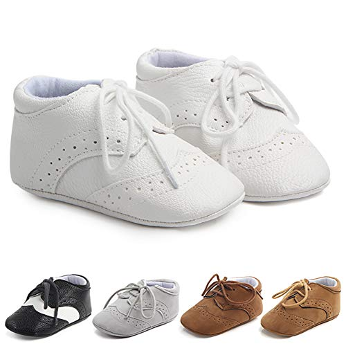 Methee Infant Baby Boys Girls Walking Shoes, Soft Sole Non-Slip First Walker Shoes Newborn Crib Shoes, Perfect for Baptism/Crawling/Wedding, White 6-12 Months Infant