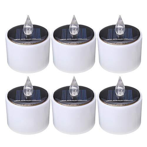 Solar LED buitenlamp Solar Light Powered Lighting lamp kaars Tea Light Wedding decoratie huis kerst batterij warm flicker vlamloos (6 stuks) buitenverlichting