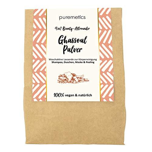 puremetics Zero Waste Ghassoul Lavaerde Pulver (400g) | 100% natürlich, vegan & plastikfrei | Für Haut und Haar | Marokkanische Tonerde | Wascherde ohne Plastik