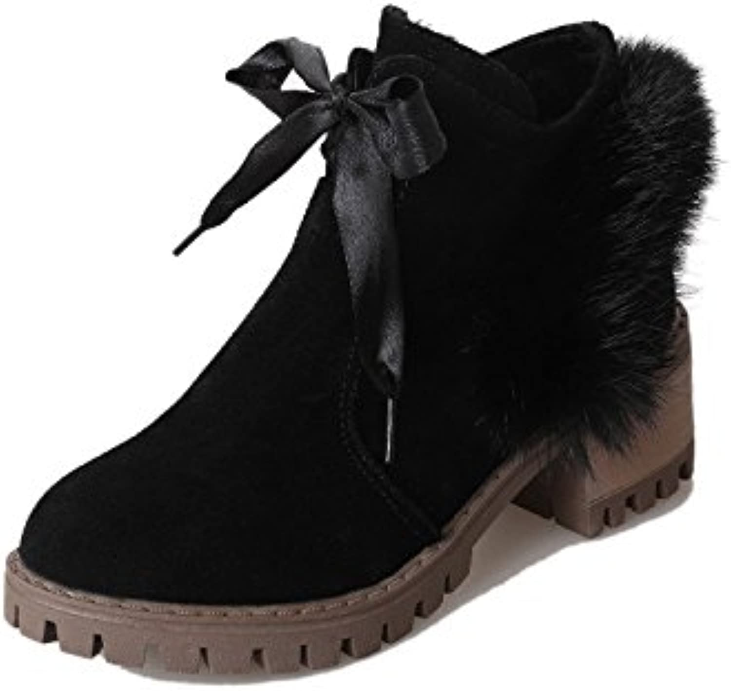 WYMBS Women's shoes Rough Keep Warm Low-Heeled Non-Slip Rubber Short Boots,Black,40