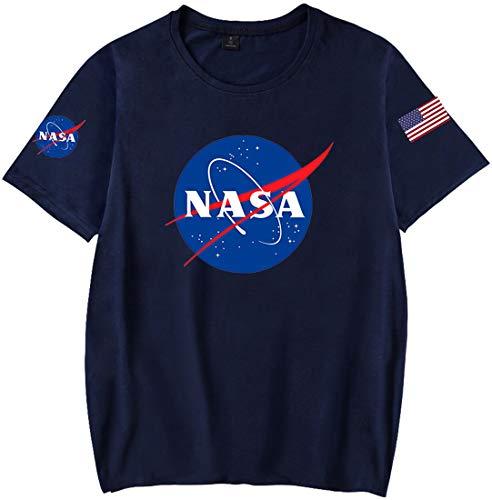 OLIPHEE Maglietta a Tinta Unita con Fascia da Braccio di NASA T-Shirt per Ragazzi e Uomo ZQ XS