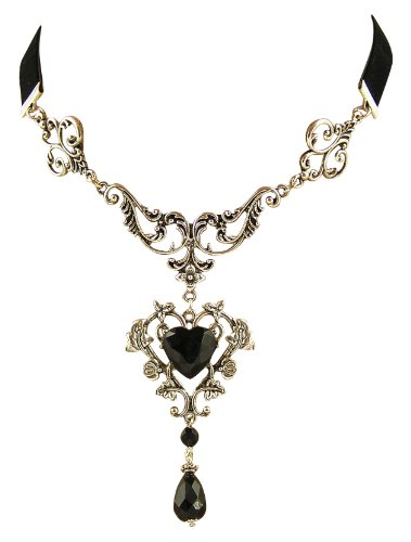 Eleganz Trachtenschmuck Dirndl Kropfband Kropf-Kette Gothic Collier ornamental schwarz