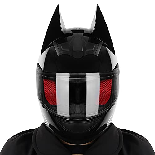Casco de motocicleta con orejas de gato frescas y personalidad negra brillante, casco integral con auriculares bluetooth (lente transparente), casco de motocicleta ATV anticolisión scooter flip para