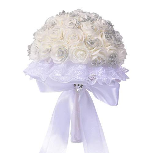 White Artificial Silk Flower Bouquet Crystal Rose Pearl Bridesmaid Decor Wedding Bride Bouquet For outdoor decoration