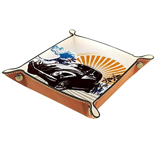 Bandeja de almacenamiento de cuero de microfibra de color marrón clásico para el coche, caja de almacenamiento para mesita de noche, se utiliza para carteras, llaves, relojes, joyas