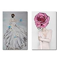 エレガントな花嫁の着用ウェディングドレスアートキャンバス絵画花女性ポスター壁に印刷画像ホームリビングロム装飾40x60cmフレームなし