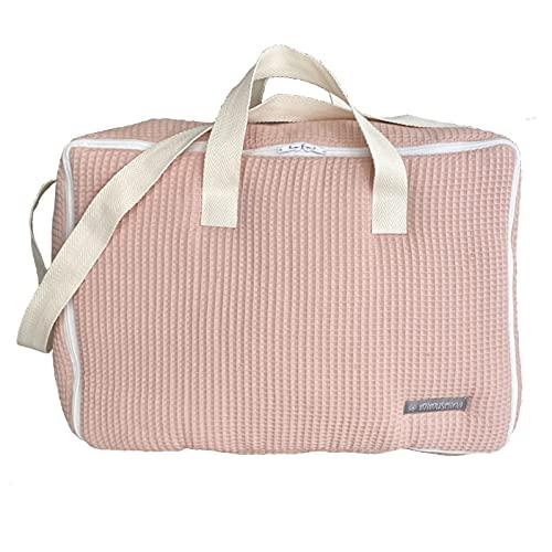 Maleta bebé hospital. Maleta de tela para nacimiento del bebé. Bolso bandolera ideal como maleta del bebé para el hospital. Maleta de viaje para bebé. Maleta fin de semana bebé Mimuselina (Wafle rosa)