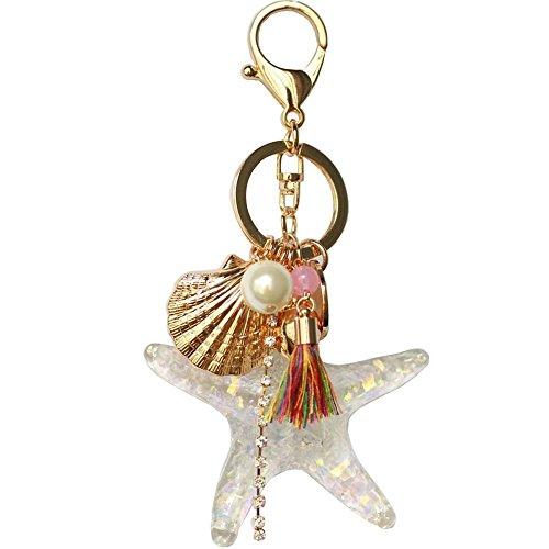 Pearl Starfish Shell Tassel Keychain Keyring Crystal Rhinestones Purse Pendant Handbag Charm (White)