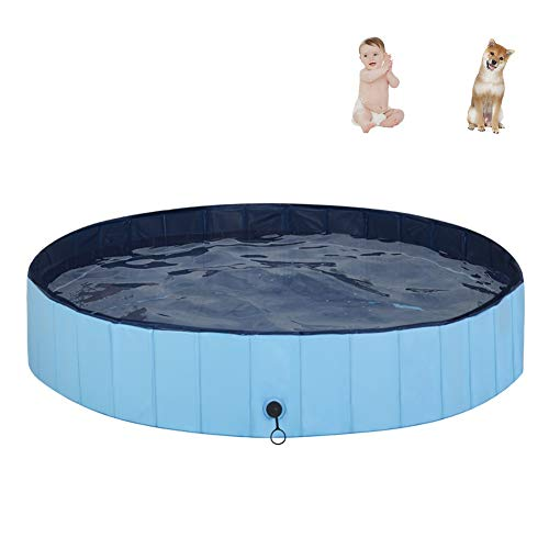 """MorTime Foldable Dog Pool Portable Pet Bath Tub Large Indoor & Outdoor Collapsible Bathing Tub for Dogs and Cats (L, 63"""" x 12"""")"""