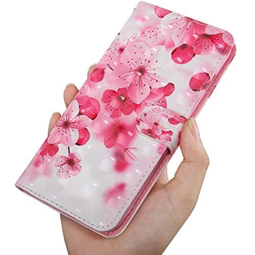 Capa carteira de couro com estampa de flor rosa pintada 3D brilhante para OnePlus RedMi XiaoMi Moto para Samsung Galaxy Huawei Honor Sony para iPhone LG Nokia (Redmi Note 7S/Note7 Pro)
