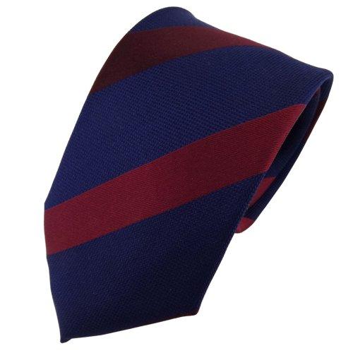 TigerTie Cravatta in seta - rosso porpora blu scuro striato - Cravatta in seta
