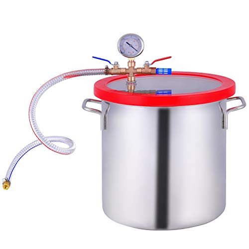 PBAUTOS 3 Gallon Vacuum Chamber Stainless Steel, Acrylic Crystal Lid Pressure Degassing Chamber for Resin Casting, Degassing Silicones and Essential Oils, Not for Stabilizing Wood