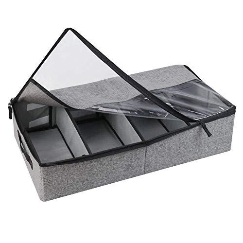 Casinlog Bolsa de almacenamiento debajo de la cama, caja para debajo de la cama, almacenamiento para zapatos, duradero, ventana transparente, cierres de Reii, asa para techos y armarios, color gris