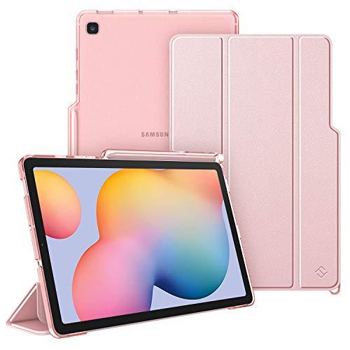 FINTIE Custodia per Samsung Galaxy Tab S6 Lite 10.4   SM-P610  P615 2020 con S Pen Holder, Sottile Leggero Case Posteriore Trasparente Cover con Auto Sveglia Sonno Funzione, Oro Rosa