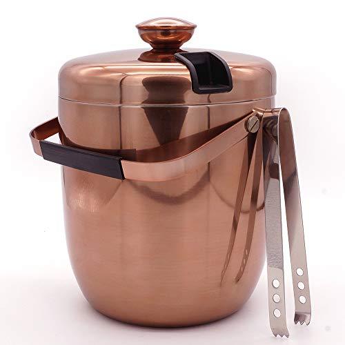 EISEIMER 3L großes Volumen, Eisbehälter aus 304 Edelstahl in Kupferoptik, Eiskühler für Wein und Sekt Doppelwandige Wärmeisolierung, Eiskübel mit Deckel und Eiszange, lange Kühldauer Farbe: Kupfer