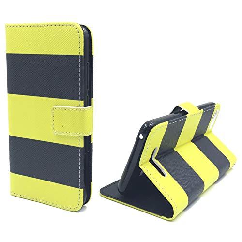 König Design Handyhülle Kompatibel mit Wiko Lenny 2 Handytasche Schutzhülle Tasche Flip Hülle mit Kreditkartenfächern - Gelb Schwarz