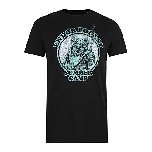 Star Wars Endor Summer Camp Camiseta, Negro (Black Blk), S para Hombre
